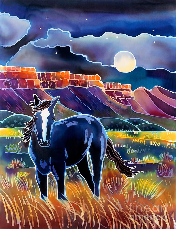 Mustang In The Moonlight Painting  - Mustang In The Moonlight Fine Art Print