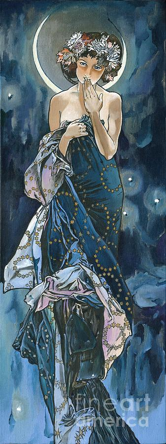 My Acrylic Painting As An Interpretation Of The Famous Artwork Of Alphonse Mucha - Moon - Painting