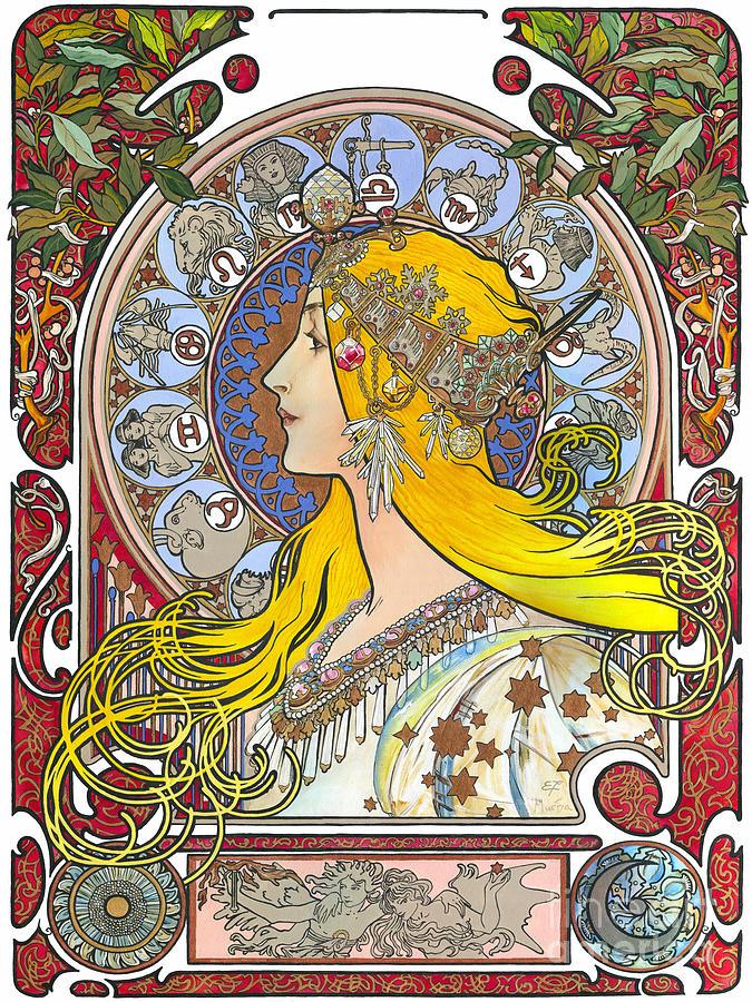 Yakubovich Painting - My Acrylic Painting As An Interpretation Of The Famous Artwork Of Alphonse Mucha - Zodiac - by Elena Yakubovich