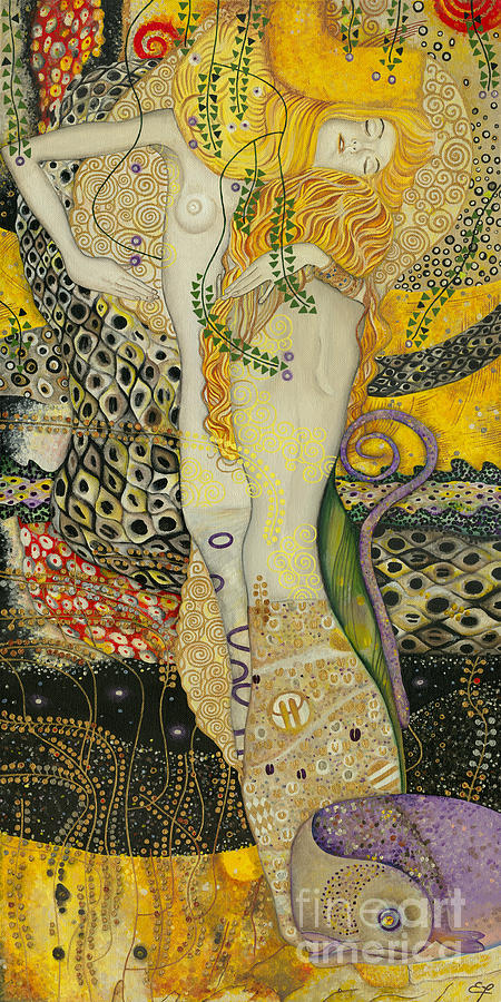 My Acrylic Painting As An Interpretation Of The Famous Artwork Of Gustav Klimt - Water Serpents I Painting