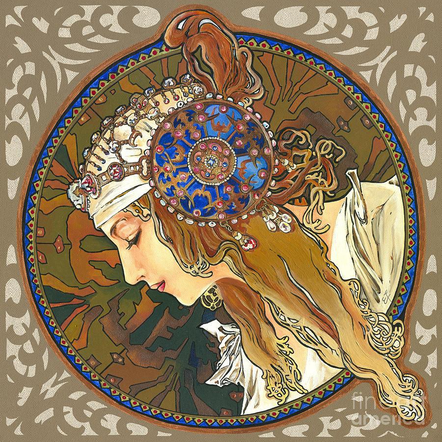 My Acrylic Painting As Interpretation Of Alphonse Mucha- Byzantine Head. The Blonde. Diagonal Frame. Painting