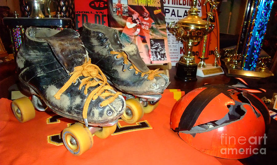 My Battle Scarred Roller Derby Skates And Helmet   Photograph