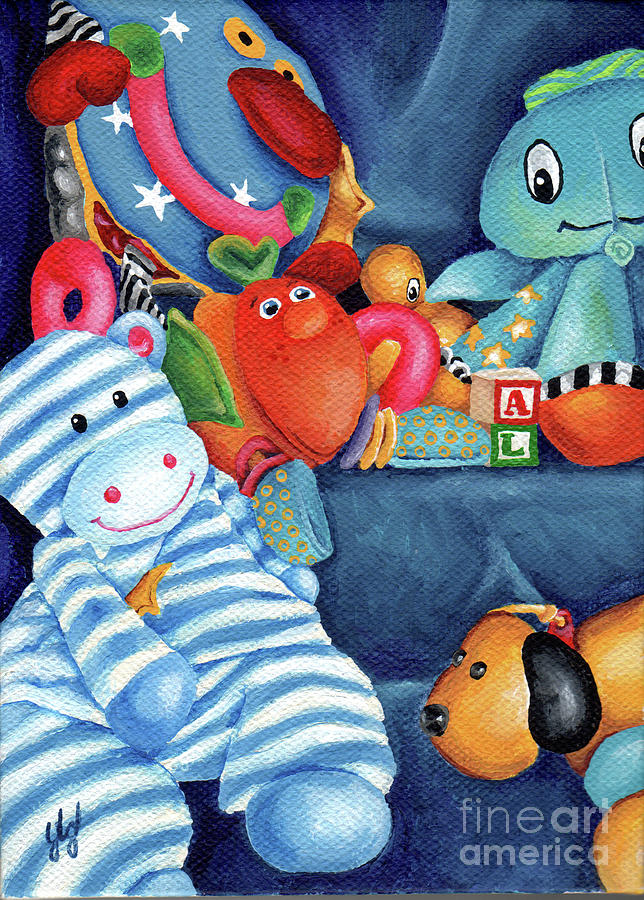 Toys For Painting : My blue toys painting by yvonne gillengerten