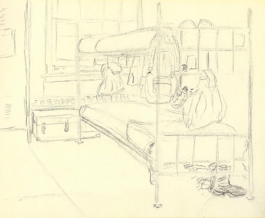 My Bunk In Basic Training I Fort Jackson 1976 Drawing