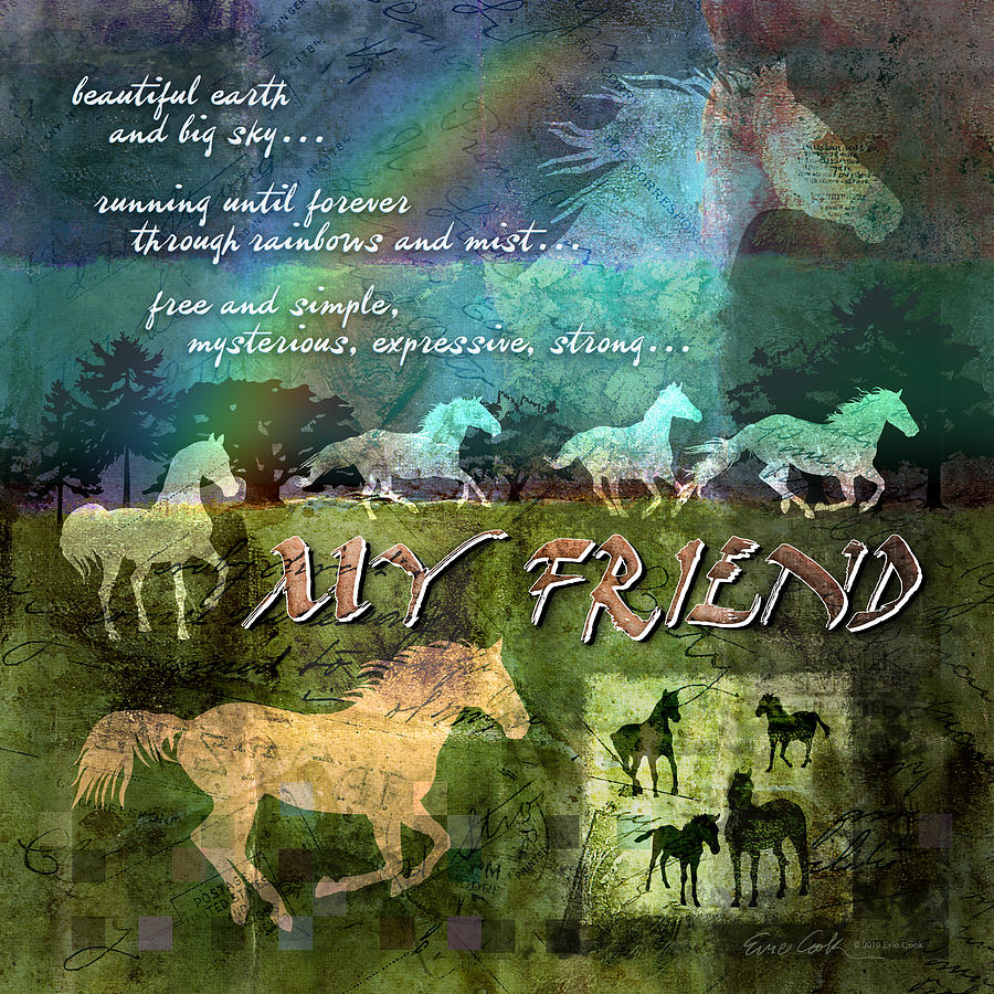 Horse Digital Art - My Friend Horses by Evie Cook