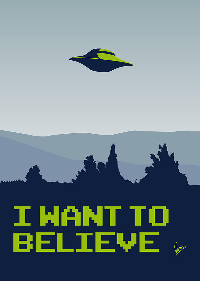 My I Want To Believe Minimal Poster Digital Art