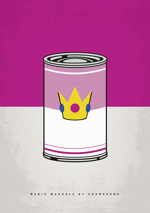 Warhol Digital Art - My Mario Warhols Minimal Can Poster-peach by Chungkong Art