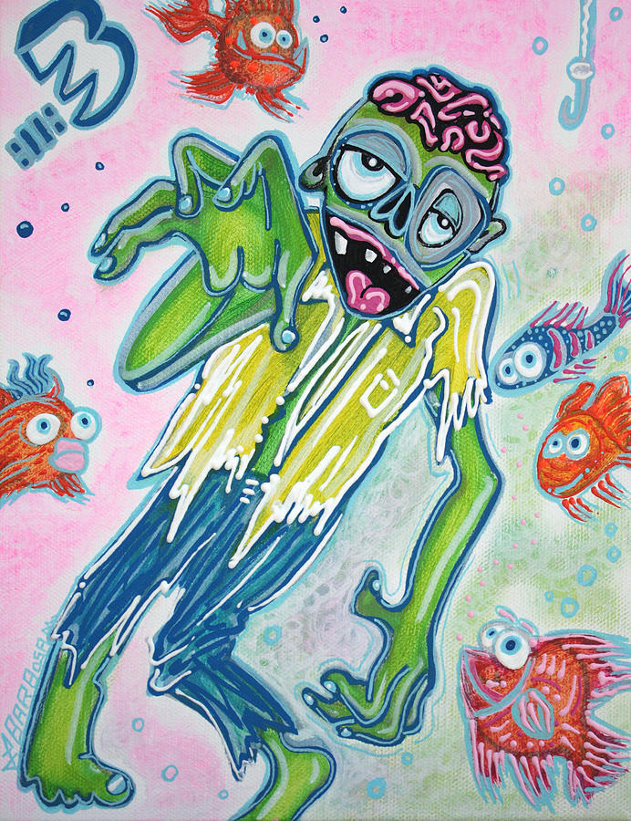 Fish Painting - My Pet Zombie #3 / Fish Bait by Laura Barbosa