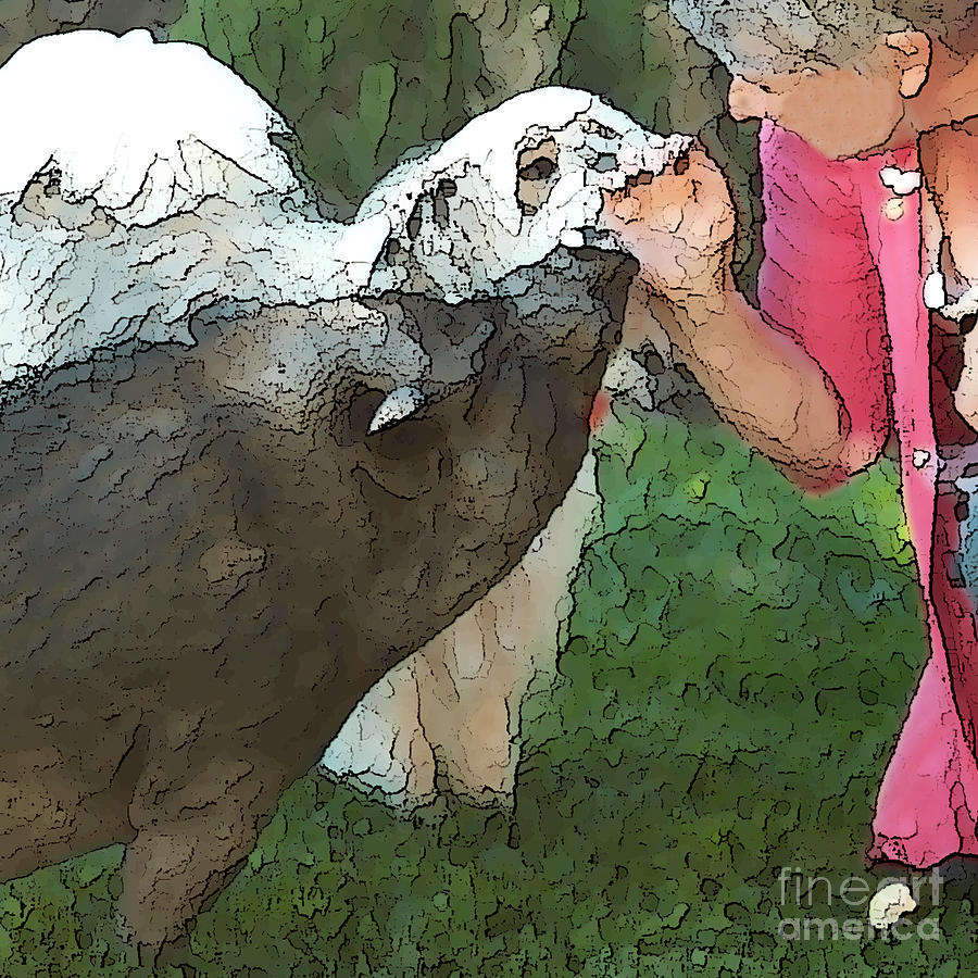 My Pig And Dog Friends Digital Art  - My Pig And Dog Friends Fine Art Print