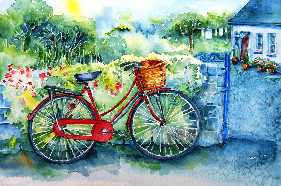 My red bicycle painting by trudi doyle for Bicycle painting near me