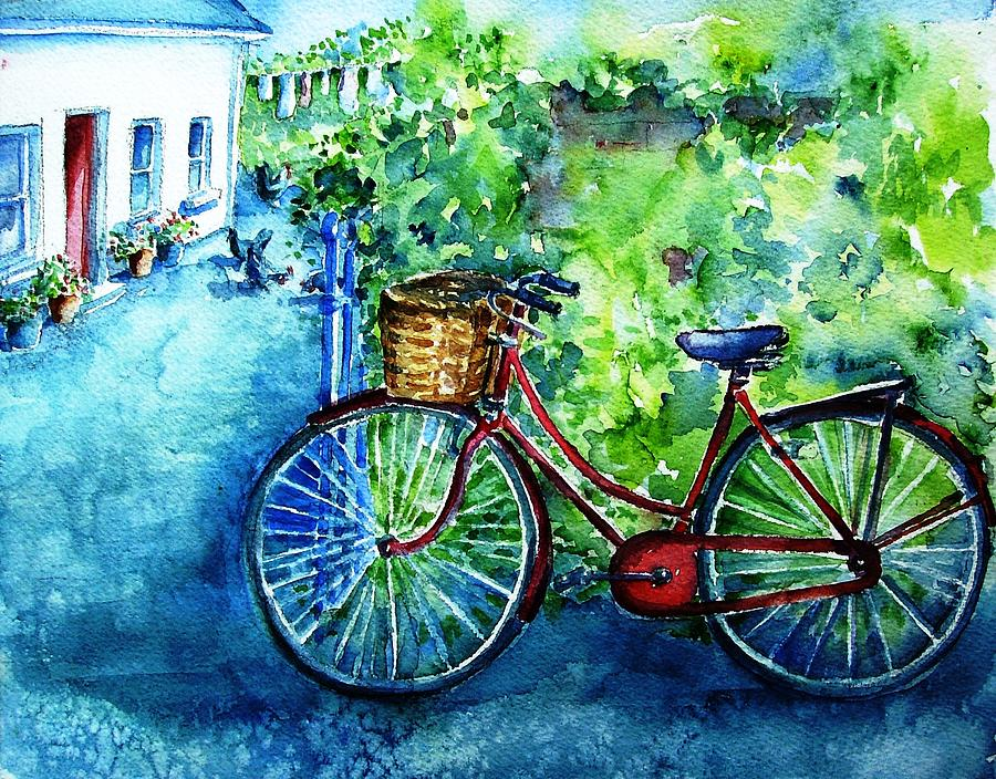 My Red Bike  Painting  - My Red Bike  Fine Art Print
