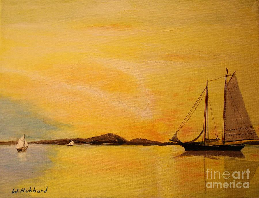 Ship Painting - My Ship Lies Awaiting In The Harbor by Bill Hubbard