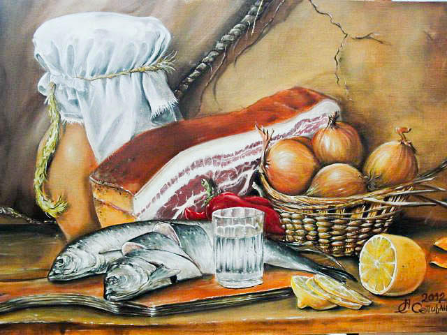 Fish Paintings Painting - My Still Life by Sergey Selivanov