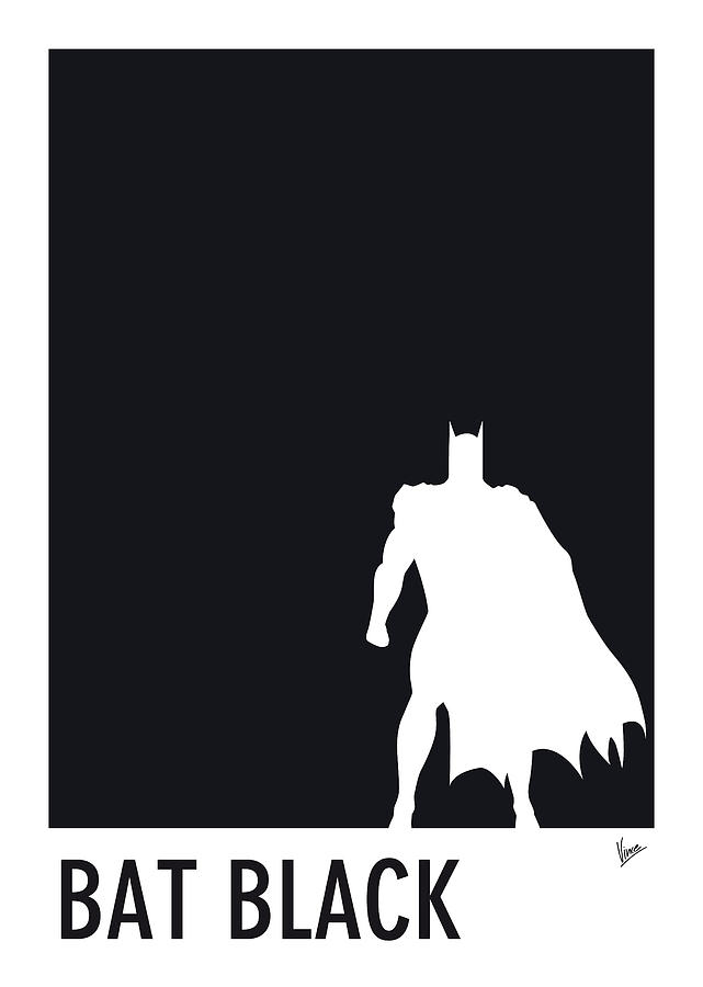 My Superhero 02 Bat Black Minimal Pantone Poster Digital Art  - My Superhero 02 Bat Black Minimal Pantone Poster Fine Art Print