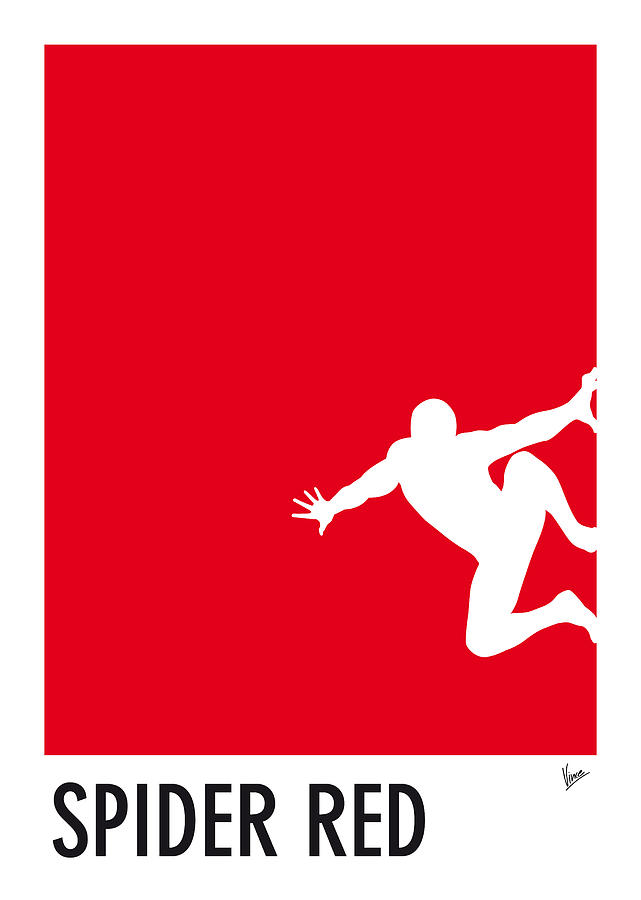 My Superhero 04 Spider Red Minimal Pantone Poster Digital Art  - My Superhero 04 Spider Red Minimal Pantone Poster Fine Art Print