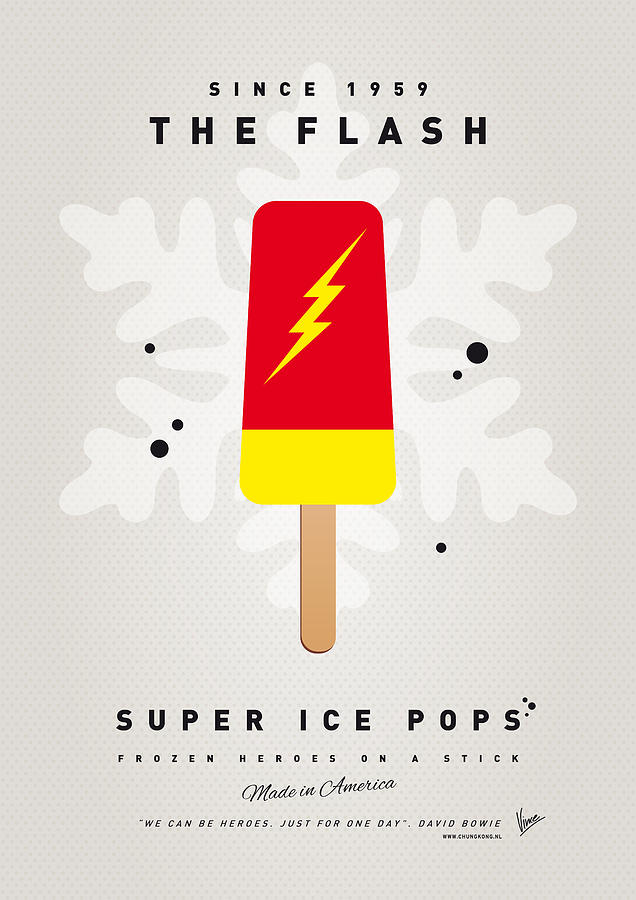 My Superhero Ice Pop - The Flash Digital Art  - My Superhero Ice Pop - The Flash Fine Art Print