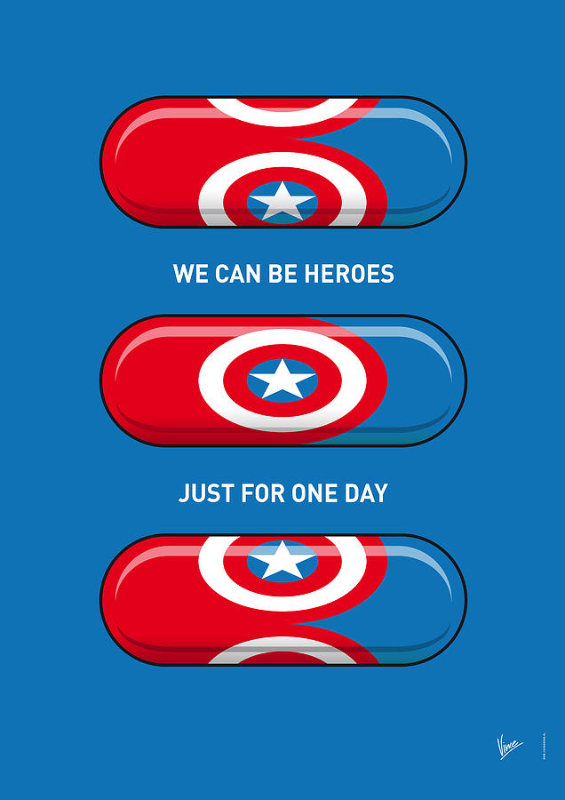 My Superhero Pills - Captain America Digital Art