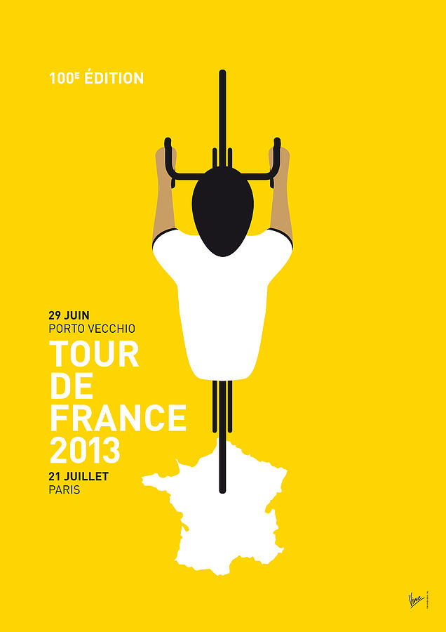 My Tour De France Minimal Poster Digital Art  - My Tour De France Minimal Poster Fine Art Print