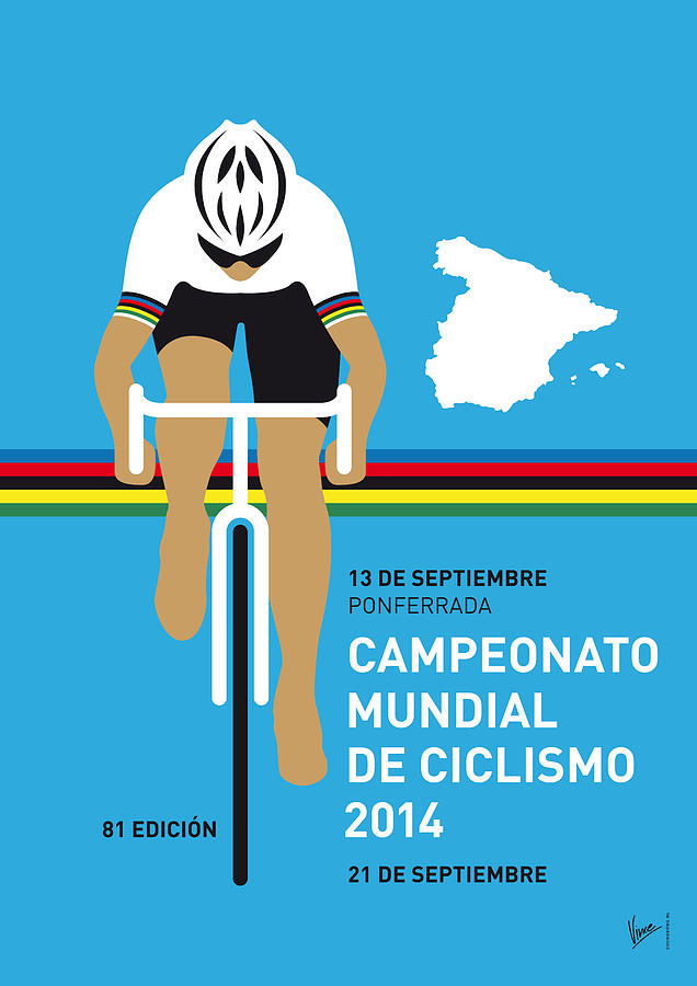 My Uci Road World Championships Minimal Poster 2014 Digital Art  - My Uci Road World Championships Minimal Poster 2014 Fine Art Print