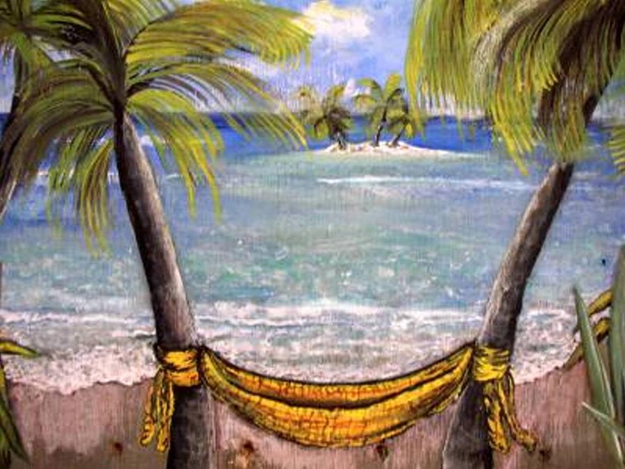 My Yellow Hammock Painting  - My Yellow Hammock Fine Art Print