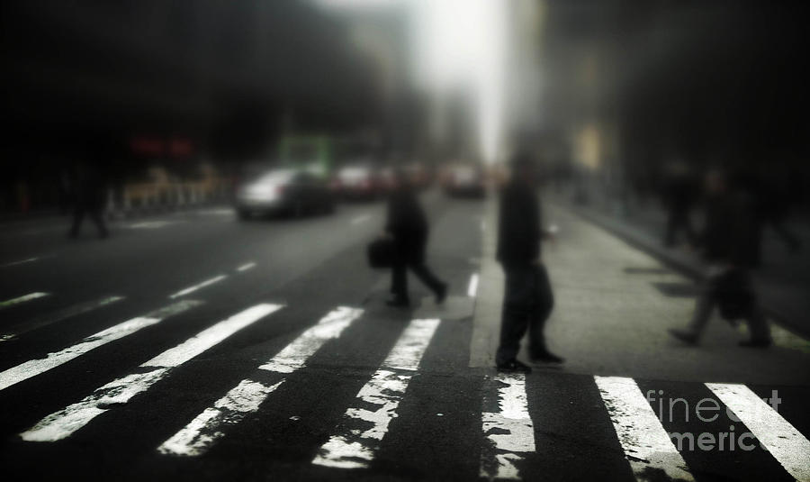 Mysterious Business Men In New York City Crosswalk Photograph