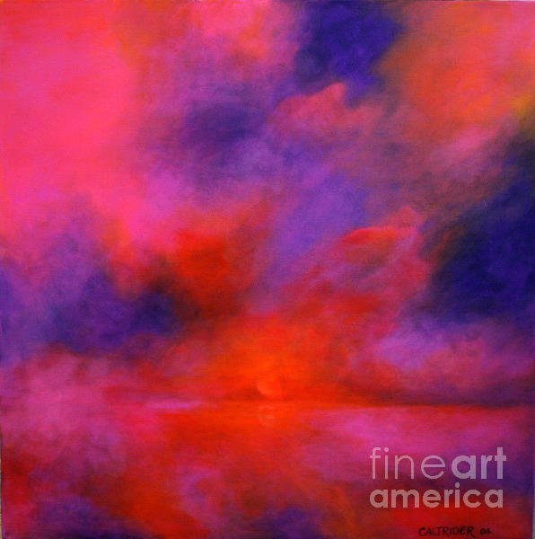Abstract Landscape Painting - Mysterious Sunrise by Alison Caltrider