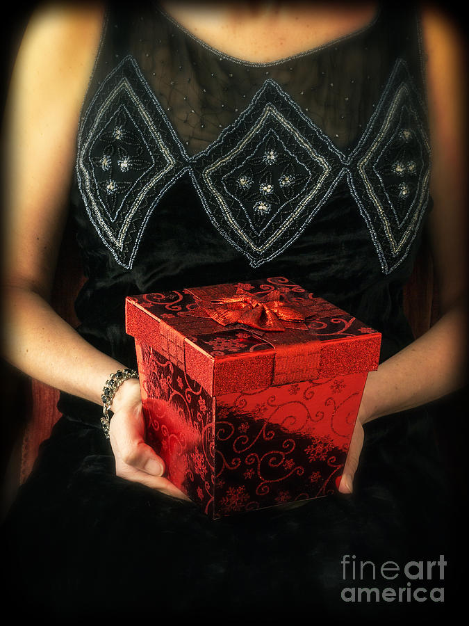 Mysterious Woman With Red Box Photograph