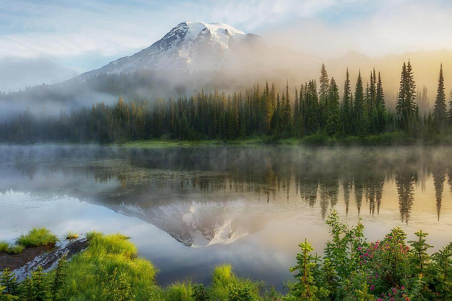 Mount Rainier Photograph - Mystic Rainier by Ryan Manuel