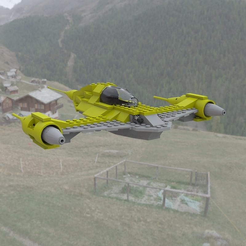 Naboo N1 In Flight Digital Art  - Naboo N1 In Flight Fine Art Print