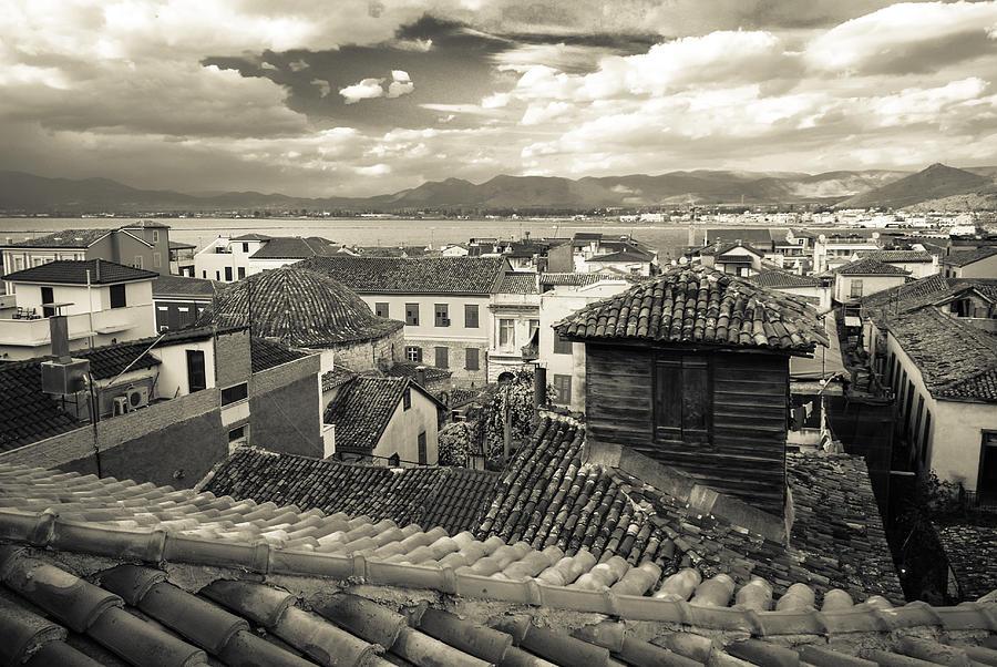 Nafplio Rooftops Sepia Photograph