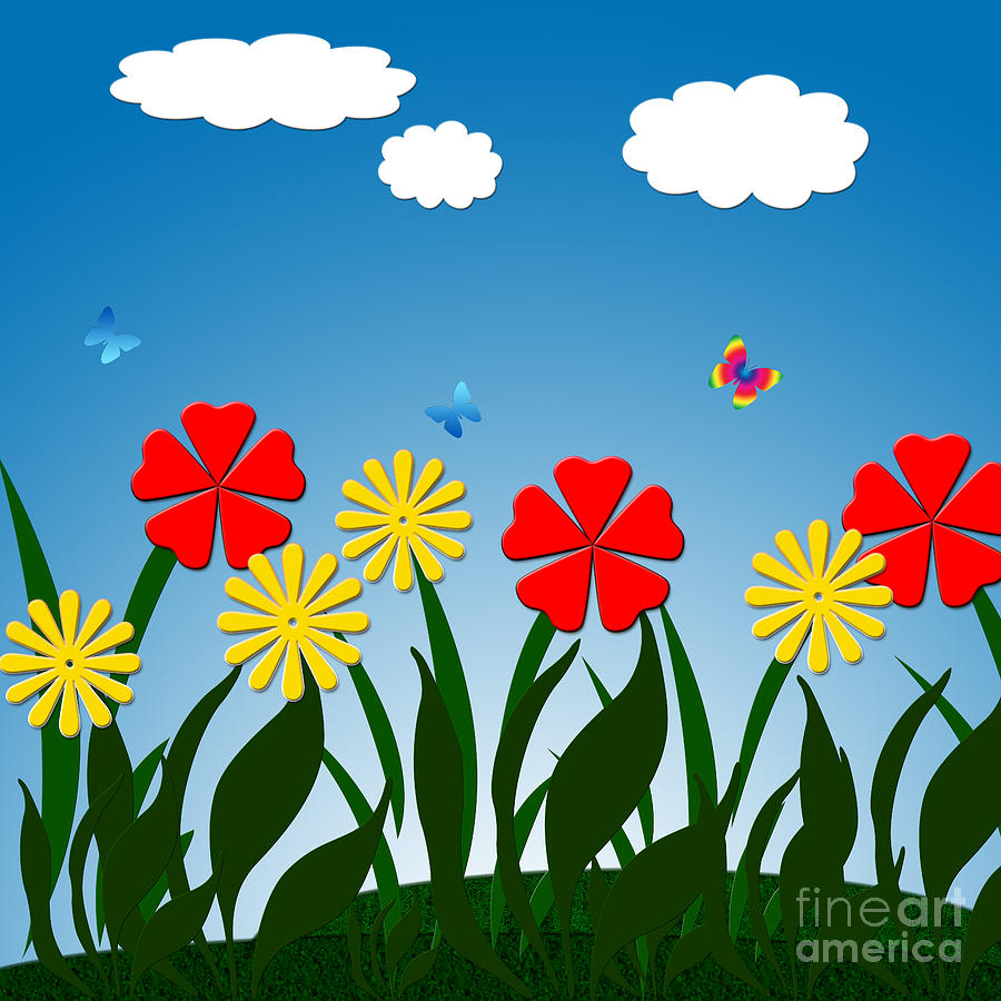 Naive Nature Scene Digital Art  - Naive Nature Scene Fine Art Print