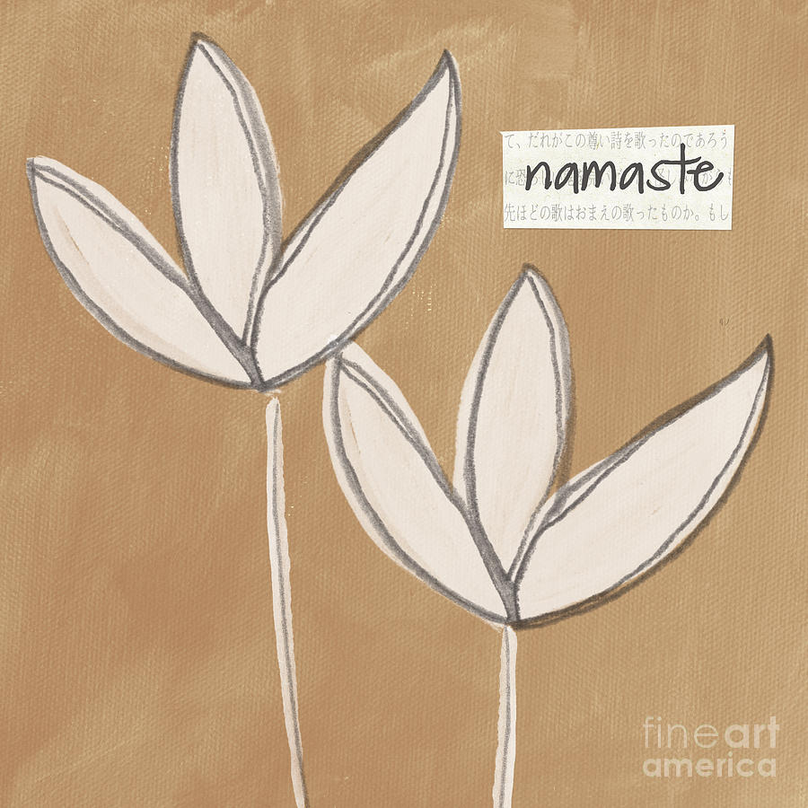 Namaste White Flowers Painting  - Namaste White Flowers Fine Art Print
