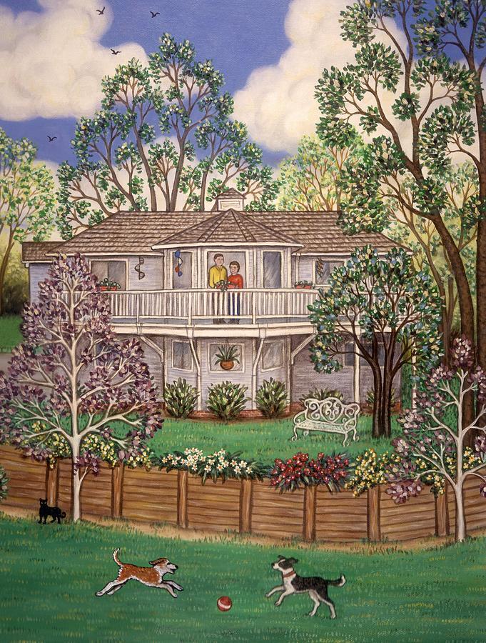Folk Art House Painting - Nancys House by Linda Mears