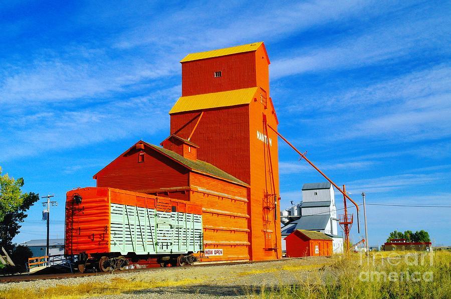 Nanton Alberta Photograph - Nanton Grain Elevators  by Jeff Swan