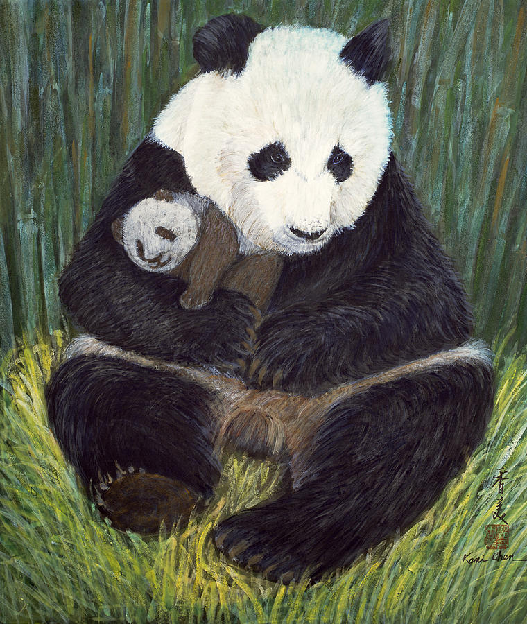 Pandas; Panda Bear; Bears; Animal; Baby; Mother; Cub; Resting; Sleeping; Cuddling; Asian; Protection Painting - Nap Time by Komi Chen