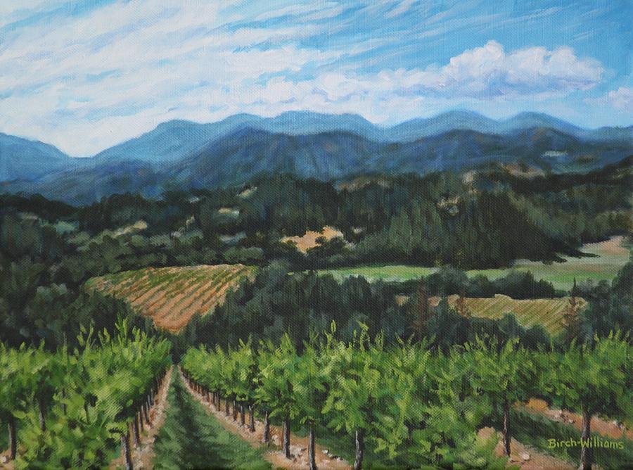 Vineyard Painting - Napa Valley Vineyard by Penny Birch-Williams