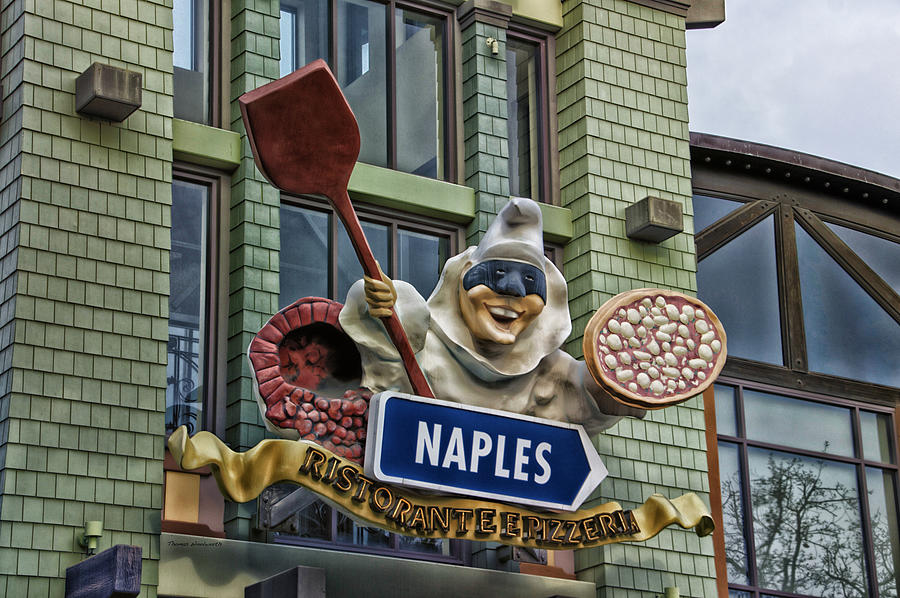 Disney Photograph - Naples Pizzeria Signage Downtown Disneyland by Thomas Woolworth