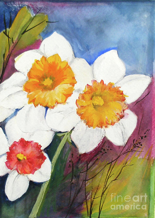 Spring Painting - Narcissus by Sibby S