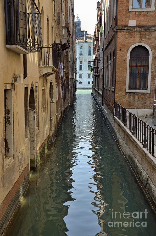 Narrow Canal In Venice Photograph  - Narrow Canal In Venice Fine Art Print