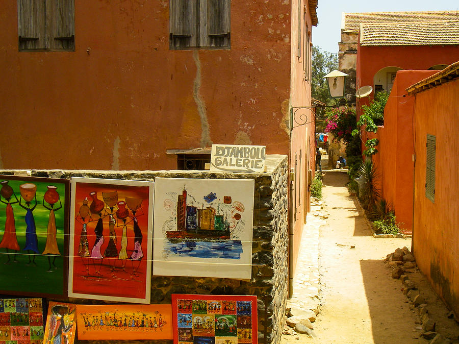 Narrow Street And Art For Sale Ile De Goree Dakar West Africa Photograph  - Narrow Street And Art For Sale Ile De Goree Dakar West Africa Fine Art Print