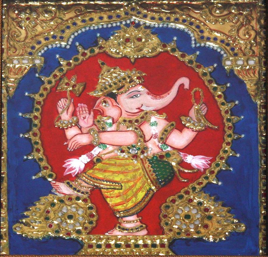 Tanjore Painting - Narthana Ganapathi by Jayashree