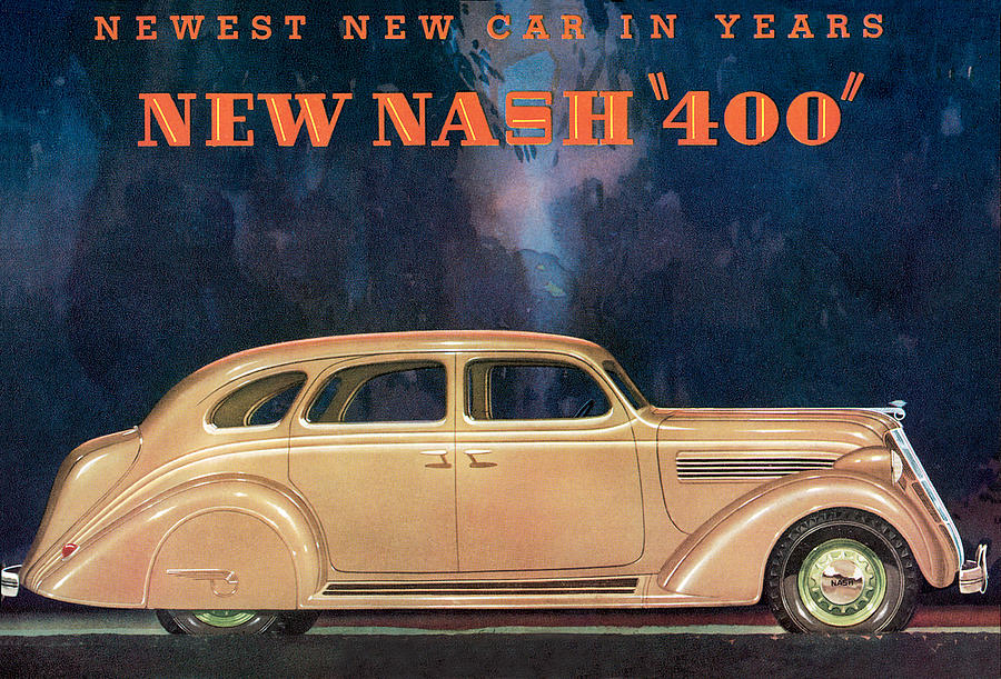 Nash 400 - Vintage Car Poster Drawing  - Nash 400 - Vintage Car Poster Fine Art Print