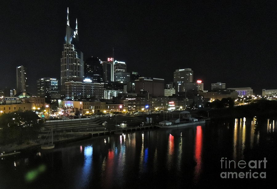 Nashville Night Skyline Photograph