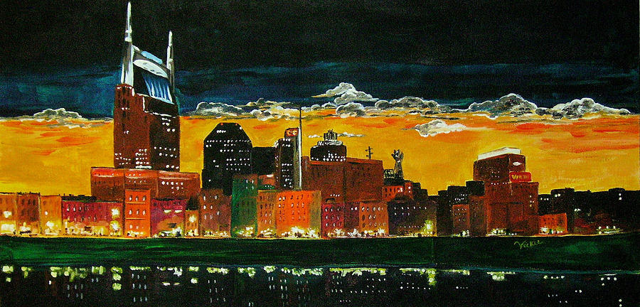 Acrylic Painting - Nashville Night by Vickie Warner