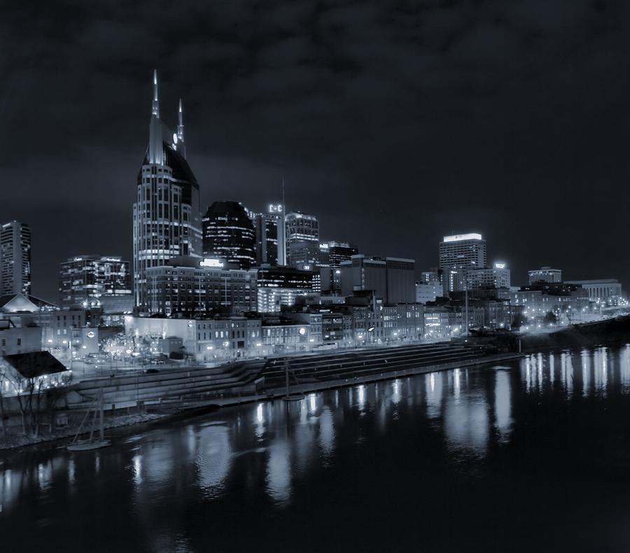 Nashville Skyline At Night In Black And White Photograph - Nashville Skyline At Night by Dan Sproul