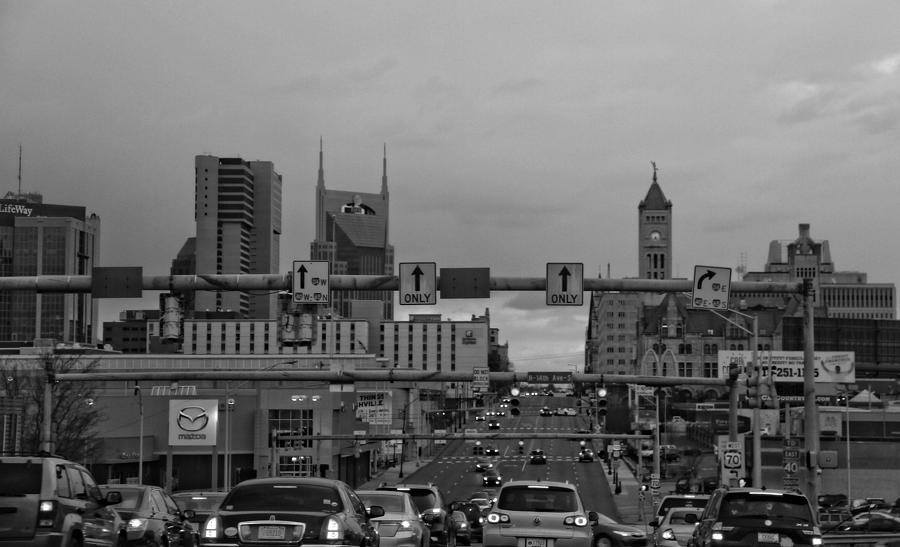 Nashville Skyline In Black And White Photograph