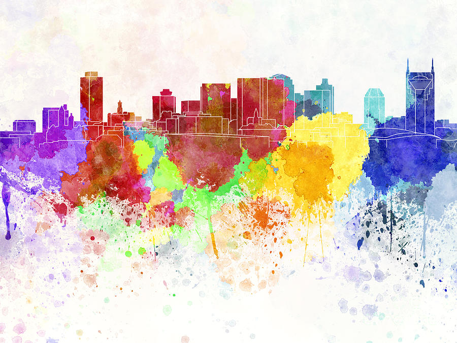 Nashville Skyline Painting - Nashville Skyline In Watercolor Background by Pablo Romero