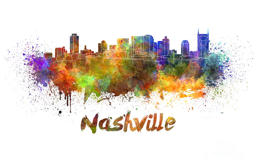 Nashville Skyline In Watercolor Painting