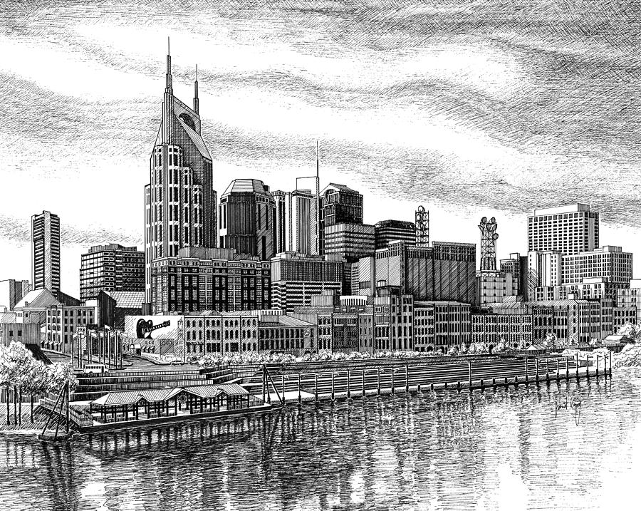 Nashville Skyline Drawing  - Nashville Skyline Fine Art Print