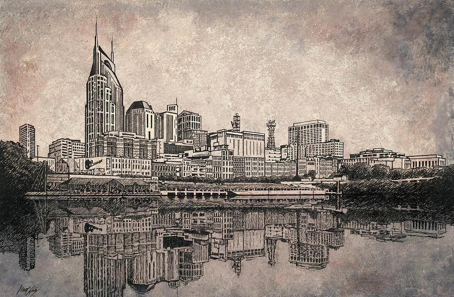 Nashville Skyline Reflection Painting